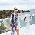 De lujo de la gasa de seda bufanda mujeres moda cabeza del tigre de la gasa del gradiente chal playa de verano bloqueador solar Pashmina 180 cm larga estola del abrigo