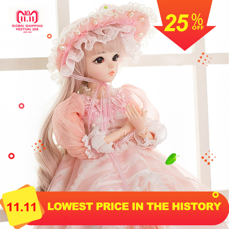 60cm BJD Dolls 1/3 Cute Princess SD Dolls with Pink Dress Wigs Shoes Hat Makeup Reborn Doll Christmas New Yeat Gift christmas faux fur fitted velvet short party dress with hat