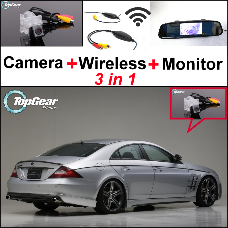 For Mercedes Benz CLS MB C219 W219 3 in 1 Special WiFi Camera + Wireless Receiver + Mirror Monitor Back Up Parking System 27pcs led interior dome lamp full kit parking city bulb for mercedes benz cls w219 c219 cls280 cls300 cls350 cls550 cls55amg