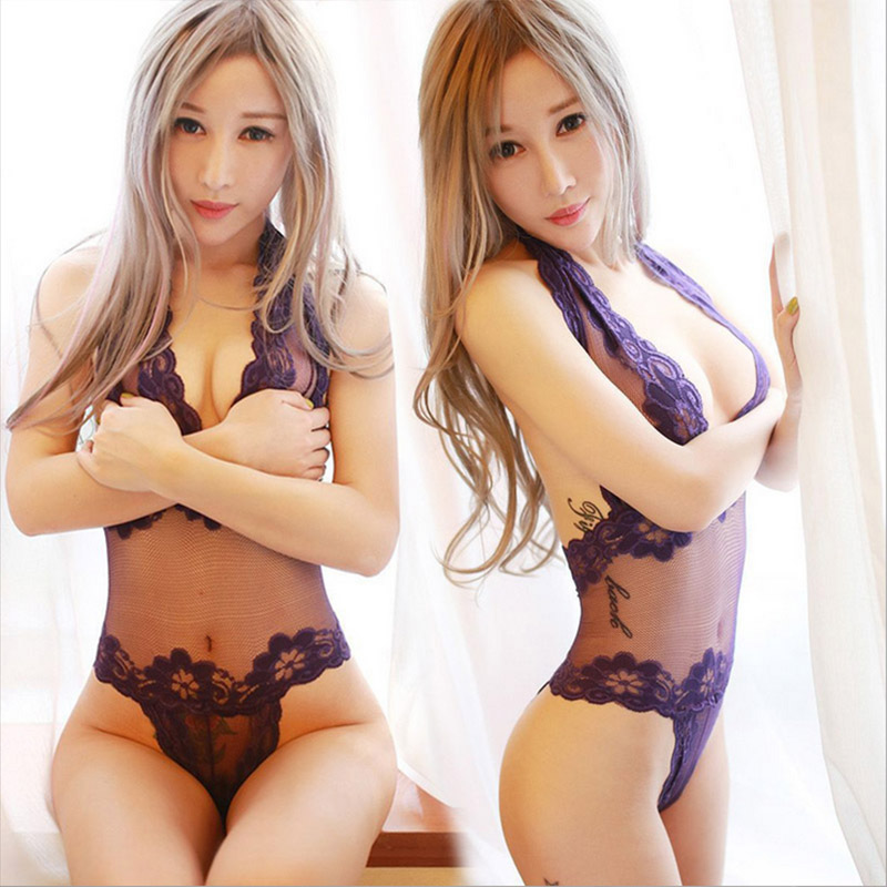 Women Lace Sexy Lingerie Hot Porn Intimates Babysuit Sexy Costumes Female Lace Costumes Deep V Neck Halter Sex Exotic Apparel  In Babydolls Chemises From