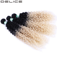 DELICE 3pcs Pack Women Full Head Black To Blonde Ombre Curly Hair Weaving Synthetic Hair Extensions
