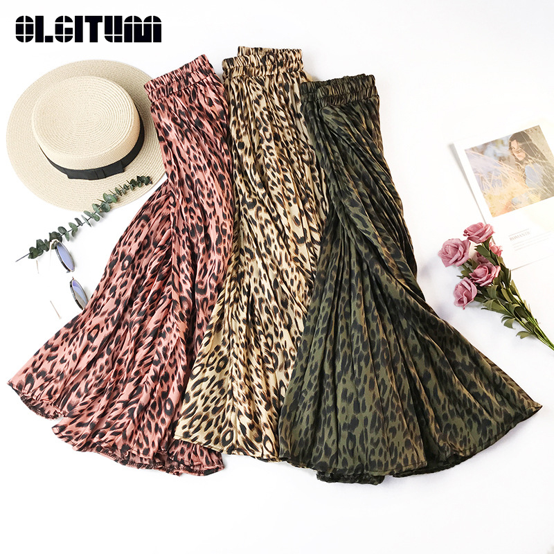 Hot 2020 Spring Summer Retro Leopard Print Pleated Skirts Women Korean Elegant High Waist A-line Midi Long Skirt Falda De Mujer