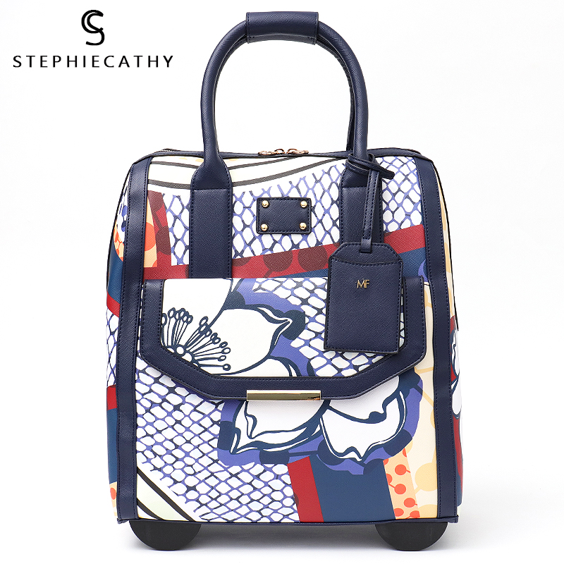 SC rolling carry on luggage bag fashion women pu leather big trolley wheels travel bags totes