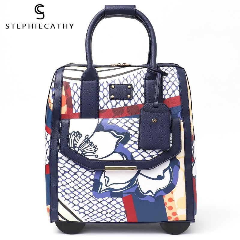 Bolsa de equipaje de marca SC con ruedas y ruedas grandes de cuero PU para mujer maletero-in De mano from Maletas y bolsas    1
