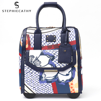 SC rolling carry on luggage bag fashion women pu leather big trolley wheels travel bags totes overnight bag photo hand luggage