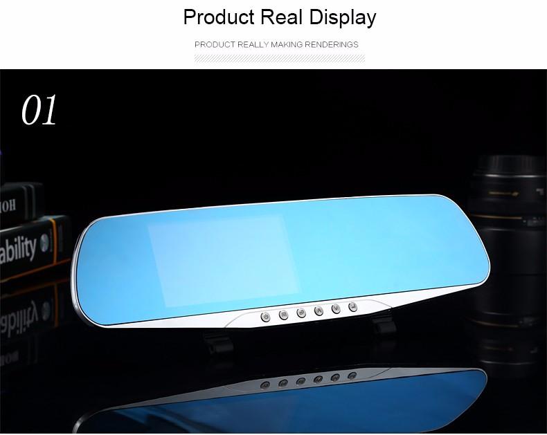 E-ACE Car Dvr Camera Led Lights Blue Rearview Mirror FHD 1080P Night Vision Video Recorder Dual Lens Auto Registrator Dash Cam 21