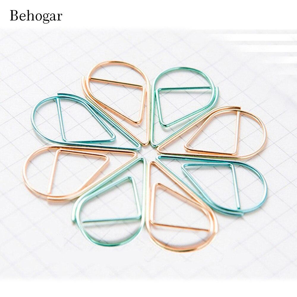 Behogar 90pcs Funny Kawaii Multicolor Drop Shape Metal Paper Clips Desk Accessories for Bookmark Office School Supplies Decor