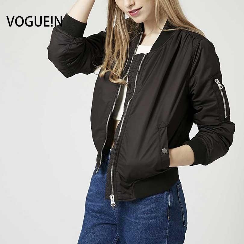VOGUE!N New Womens Ladies Spring Autumn Long Sleeve   Basic     Jacket   Casual Bomber   Jacket   Coat 4 Colors
