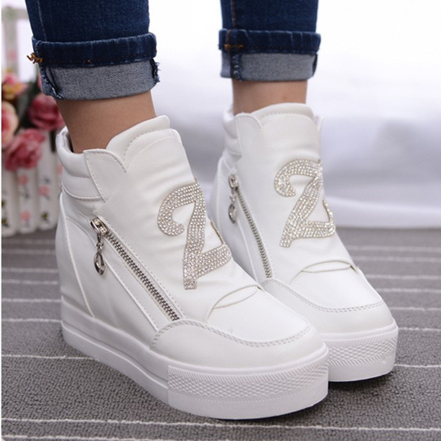 KUYUPP Casual Women Shoes Hide Heel Double Zipper Winter Shoes Women Round Toe Leather Platform Shoes White Casual Shoes S49