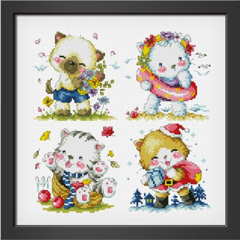 Gold Collection Counted Cross Stitch Kit Four Seasons Cats Spring Summer Autumn Winter Cat Kitty Kitten SO