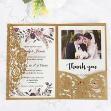 100 sztuk Glod laserowo wycinane flor kieszonkowe zaproszenia ślubne kartki z kopertą dostosowane Party,CW0008