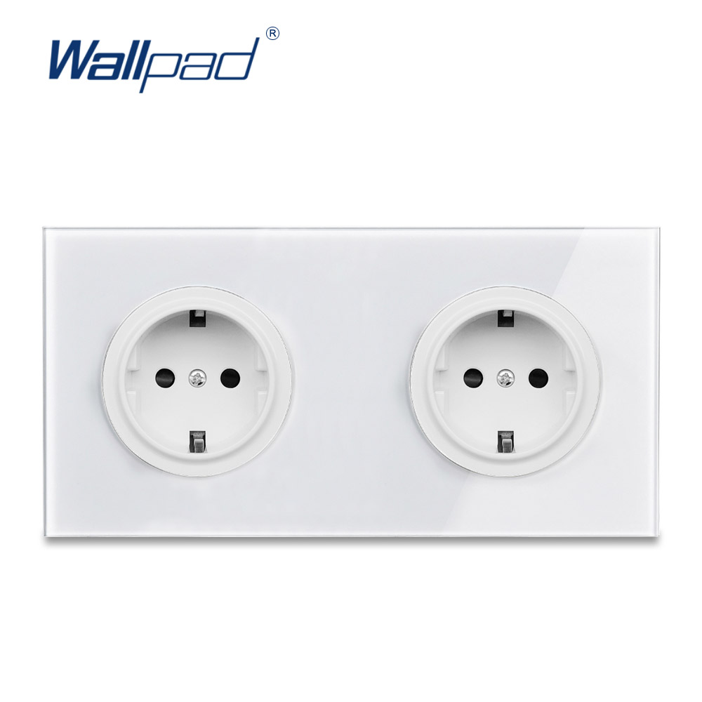 Wallpad L6 Double 2 Gang EU German Plug Wall Socket Schuko Dual Power Outlet Twin White Tempered Glass Panel 172*86mmWallpad L6 Double 2 Gang EU German Plug Wall Socket Schuko Dual Power Outlet Twin White Tempered Glass Panel 172*86mm