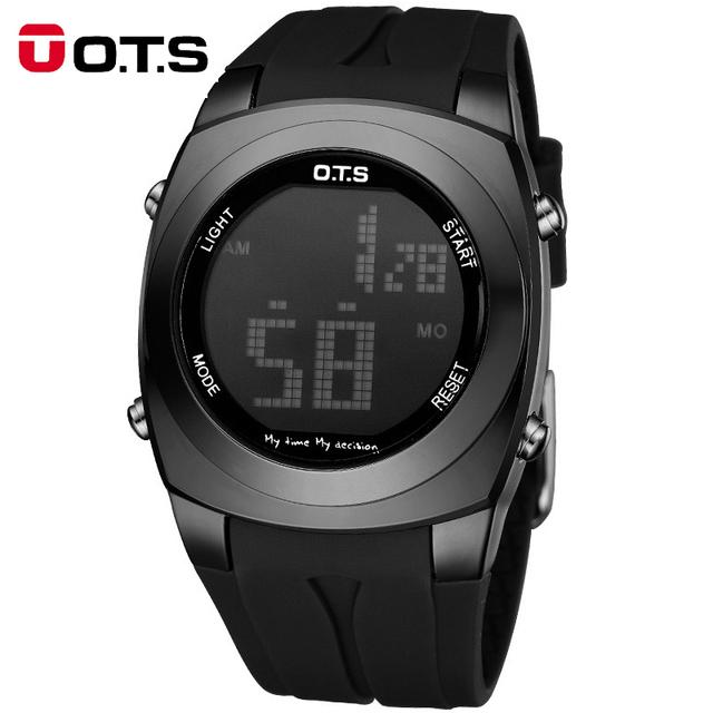 OTS Marca Hombres Reloj de Pulsera Deportivo Militar Impermeable Relojes Silicón de La Manera LED Digital del Reloj de Los Hombres Relojes de Pulsera Hombre Reloj