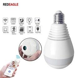 REDEAGLE HD 960P żarówka lampa kamera wifi 360 stopni VR FishEye bezpieczeństwo w domu bezprzewodowy IP panoramiczny aparat wsparcie 128GB