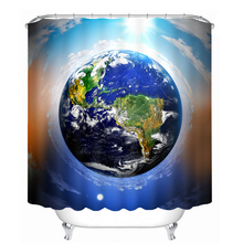 Earth Mother 3d Shower Curtains Blue Planet Pattern Bathroom Curtain Waterproof Thickened Bath Customizable