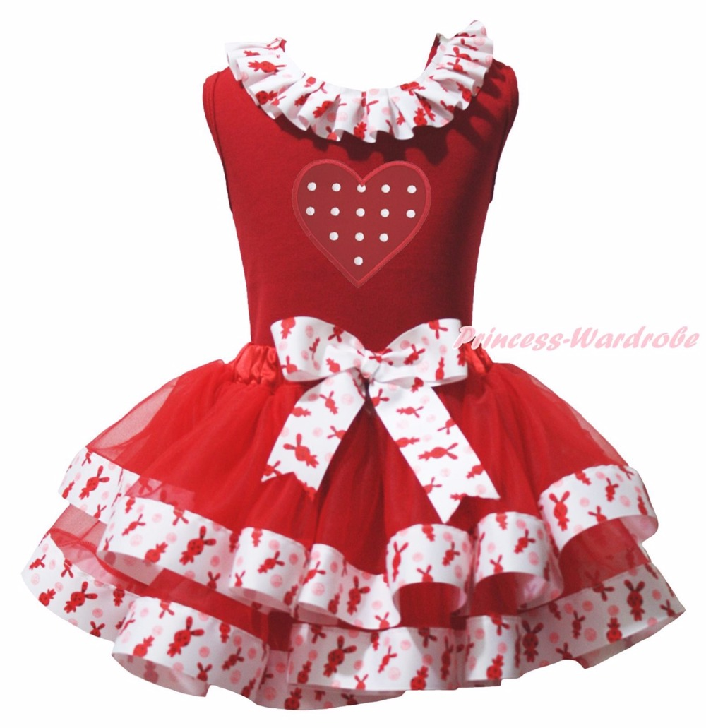 ФОТО Valentine Dot Heart Easter Red Top Bunny Rabbit Satin Trim Skirt Girls Set NB-8Y