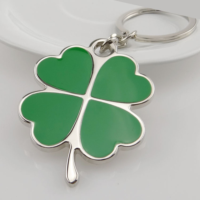 High Quality Green Leaf Clover Keychain Fashion Beautiful Oil Four Leaf  Clover Lucky Key Chain Jewelry 890815918335
