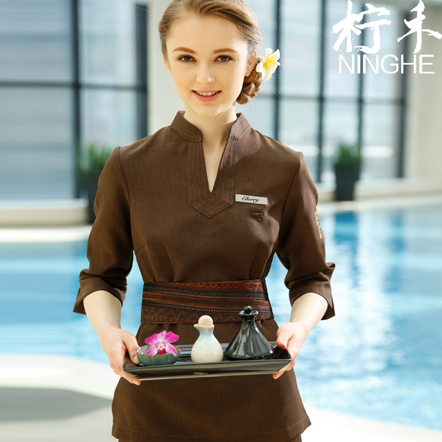 Custom-made SPA Uniform Womens V-Neck Tops+Pants Sets High Quality Coffee Beauty Clothing Thai Massage Workwear Free Shipping