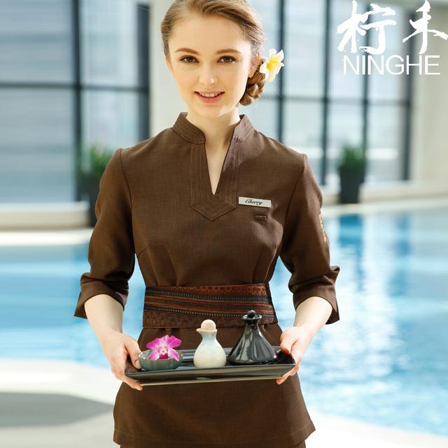 Custom made Uniforme SPA Das Mulheres Com Decote Em V Tops + Calças Conjuntos de Roupas de Alta Qualidade do Café Beleza Massagem Tailandesa Workwear Frete Grátis