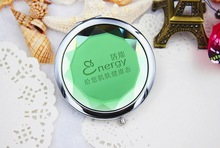 100pcs/Lot+Customized LOGO Green Crystal Compact Mirror Spring Wedding Gift Cosmetic Mirror Favors+FREE SHIPPING