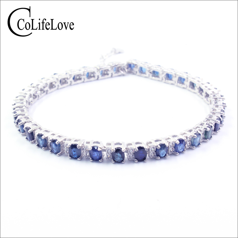 100% real silver sapphire bracelet for party 35 pcs natural sapphire gemstone bracelet solid 925 silver sapphire jewelry