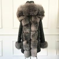 High Quality Hooded real rex rabbit fur liner parkas wholeskin rabbit women fur coat natural fox fur jacket real fur parka femme