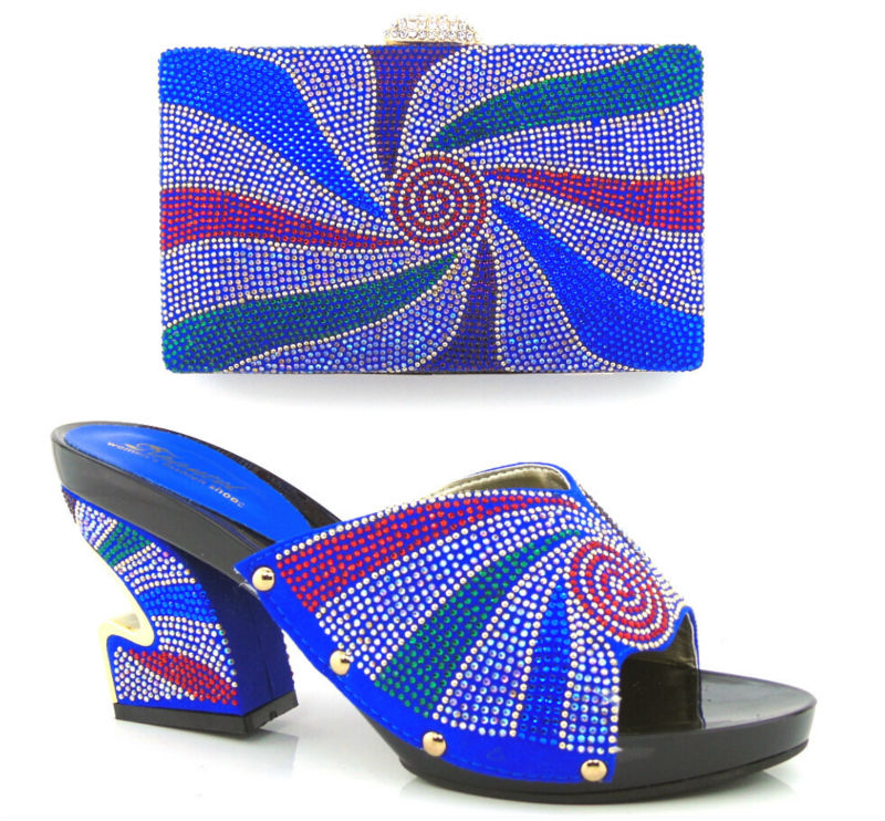 ФОТО Item No.HT13-BLUE royal blue!New Arrival Elegant Italian Shoes and Bag Set Matching Fashion Dress Shoes And Bags