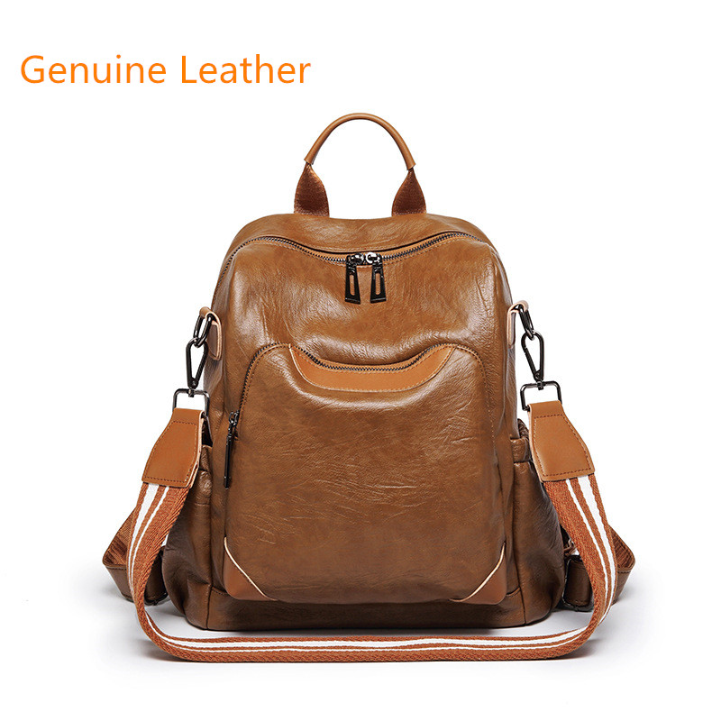 New Korean Women Female Rucksack Leisure Student School bag Soft Genuine leather Fashion Vintage Female Backpack new korean female bag canvas backpack personality badge backpack leisure student schoolbag