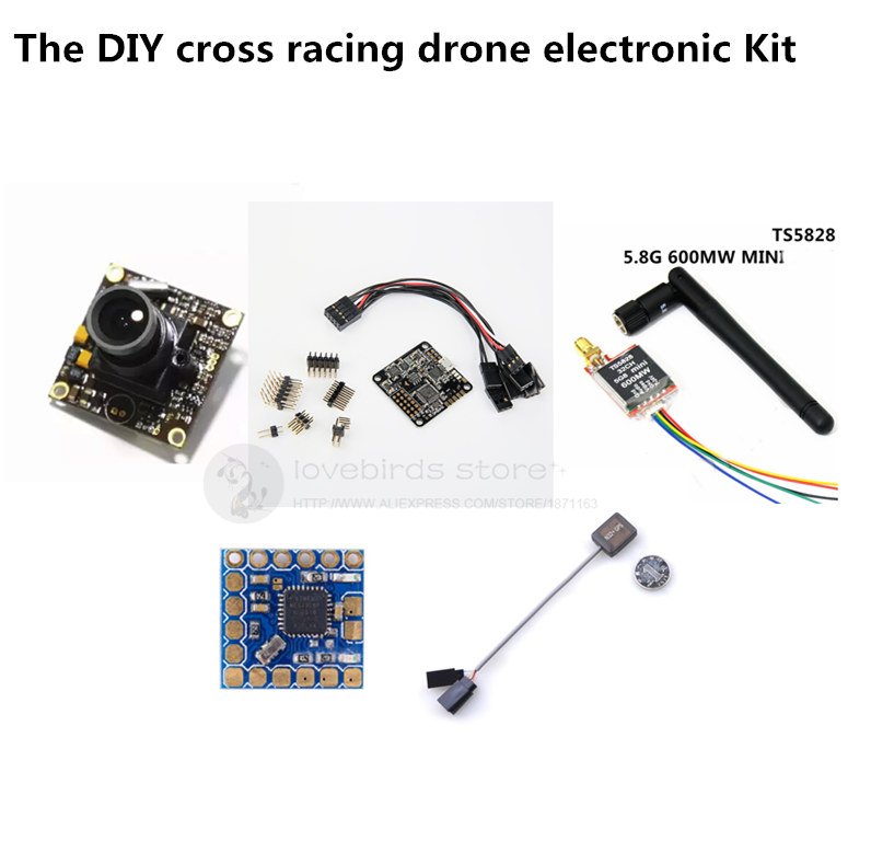 DIY mini cross racing drone FPV electronic Kit NAZE32 10 DOF+mini NA32 gps+mini OSD+TS5828 600MW+700TVL webcam for QAV250/ZMR250 diy mini drone flight control kit sp racing f3 mini m8n gps cf osd holder for qav250 robocat270 nighthawk 250 quadcopter