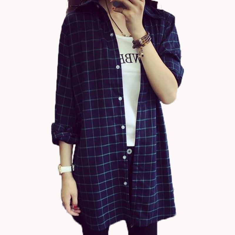 2017 nuevas mujeres a largo plaid imprimir blusa más tamaño suelta estilo BF inf