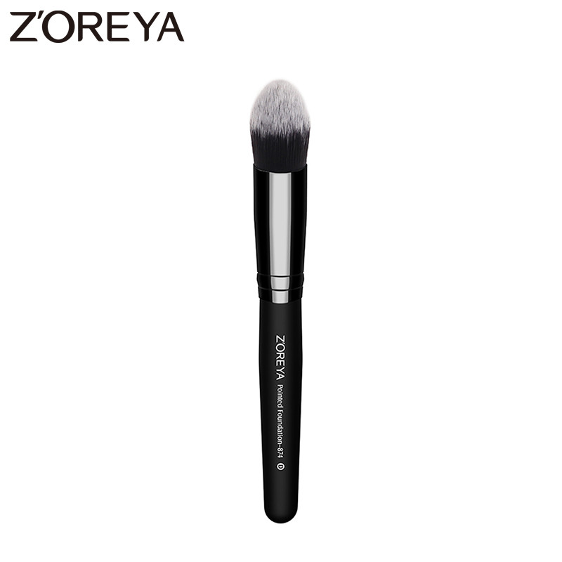 Zoreya Brand women pointed foundation makeup brushes  Kabuki Make Up Tool wooden Handle Synthetic Brush professional makeup brush flat top brush foundation powder beauty cosmetic make up brushes tool wooden kabuki