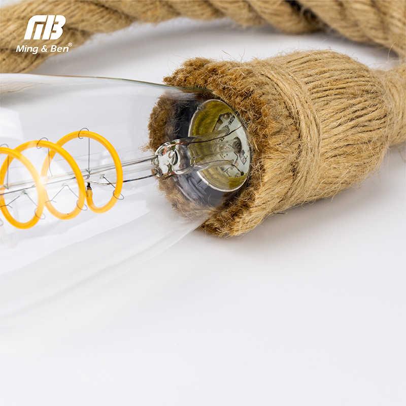[MingBen] 1 М 1,5 м 2 м винтажная пеньковая веревка подвесной светильник AC85-265V E27 для лофта творческой личности промышленный подвесной светильник базовый Декор