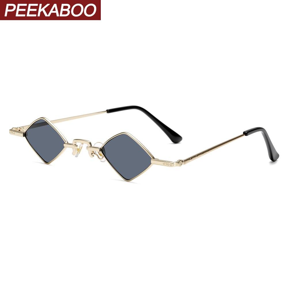 9e21df896e Peekaboo losango óculos de sol dos homens do vintage cor clara enquadrar  pequenos óculos de sol para as mulheres do metal do ouro decoração ...