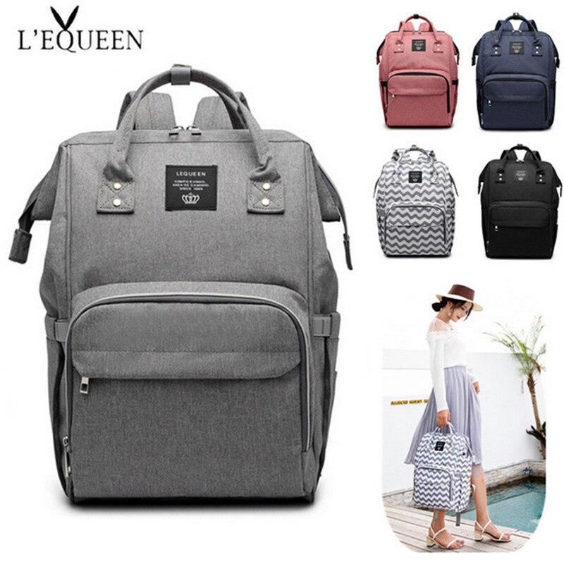 LEQUEEN bolso de Color puro de los hombres mamá bebé bolsa de 44 cm de gran capacidad impermeable negocios mochila de viaje bolsa