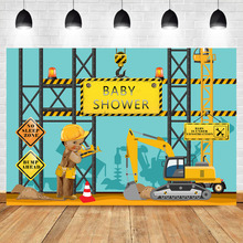 NeoBack Construction Baby Shower Backdrops Its a Boy Yellow Trucks and Diggers Background Photography
