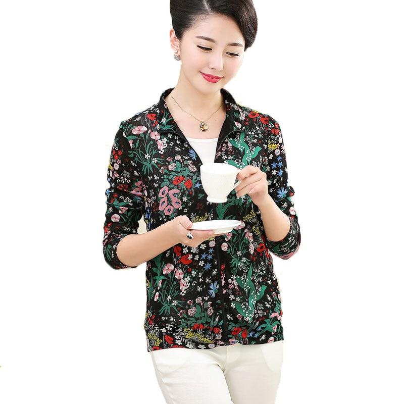 Femmes décontracté Zipper Top 100% Pure soie tricot maille Pure imprimé Cardigan à manches longues haut Outwear taille L XL XXL XXXL - 5