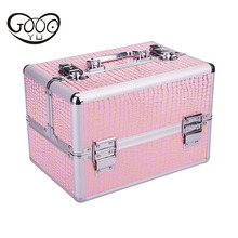 The new easy to carry the ladies cosmetic case inside multi-storey high-capacity design with lock storage box suitcase