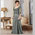 Elegnat Woman Dresses A Line Three Quarter Sleeve Long Mother Dresses Floor Length Mother Of The Bride Dresses Party Gown Hot ew