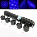 NEW high power 50000mw blue laser pointers 450nm burning match/paper/dry wood/candle/black/cigarettes+5caps Free Shipping