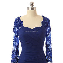 Real Photo Elegant Navy Blue Mermaid Applique Chiffon Long sleeve 1271P new mother of the bride dress formal