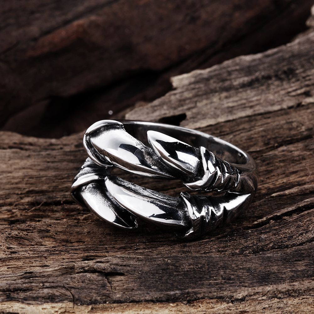 GOMAYA Rings for Men and Women 316L Stainless Steel Punk Rock Mens Biker Rings Vintage Gothic Jewelry Dragon Claw Ring Men