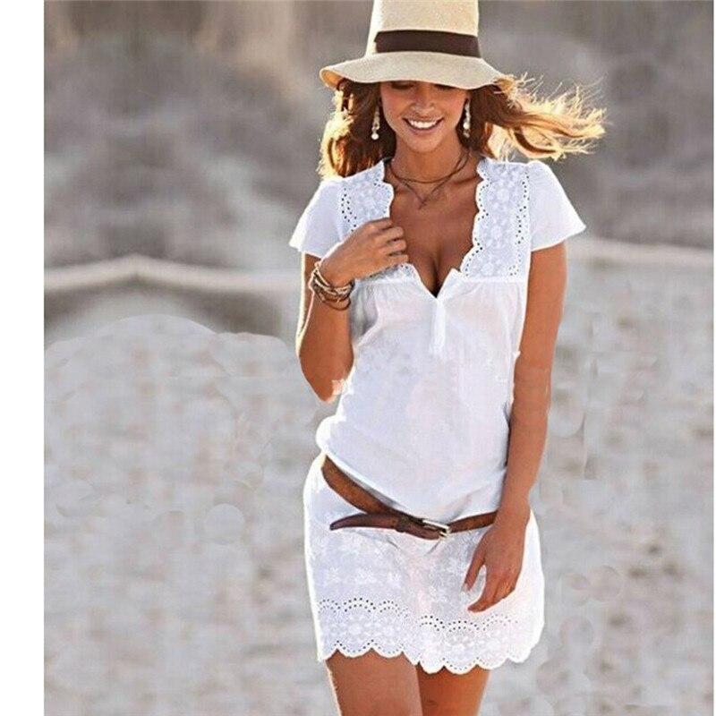 Модные женские туфли короткий рукав v-образным вырезом Solid Bodycon Повседневное Вечерние вечернее белое мини платье плюс Размеры