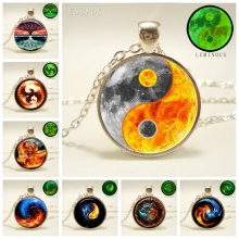 Glowing Yin Yang Necklace Phoenix Glass Dome Pendant Tree of Life Silver Plated Chain Necklace Glow In The Dark Yin Yang Jewelry aidi yin the crystal ball