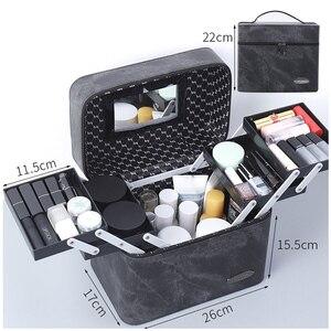 Image 3 - Bolsa de cosméticos de piel sintética de gran capacidad para mujer, estuche para bolsa de maquillaje, profesional, a la moda, organizador, caja de almacenamiento, Maleta