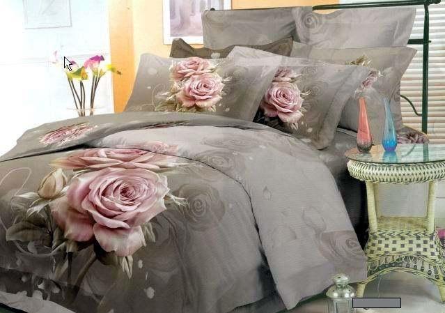 Vintage Pink Floral Bedding Set King Queen Size Bedspread
