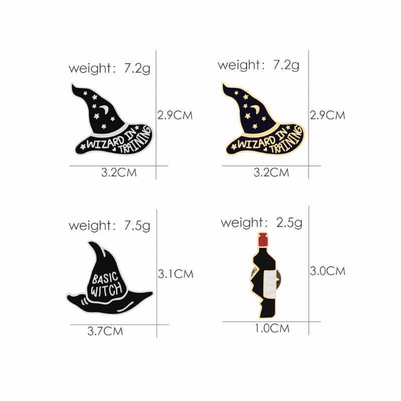 Панк брошка мультфильм для женщины Шляпа Волшебника разбитое сердце бутылки вина Куртки творческий эмаль знак мужчин для отворота хиджаба булавки ювелирные изделия