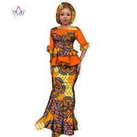 2019 Summer African Dashiki for women o neck Skirt Set natural Bazin riche african fashion clothing cotton Plus Size BRW WY2394