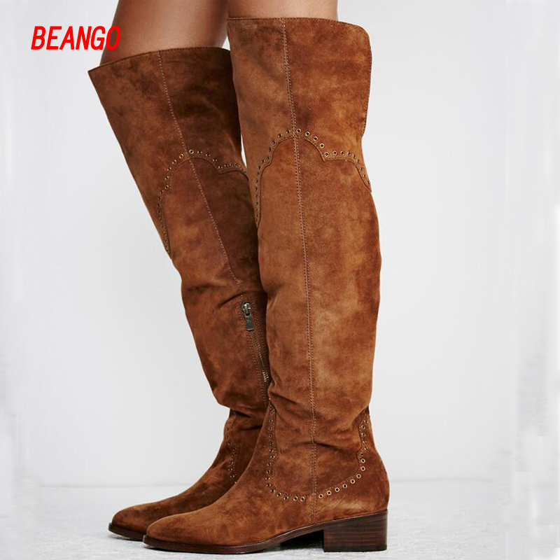 BEANGO Hollow Out Women Long Boots Chunky Heel Nubuck Leather Knee High Biker Boots Vintage Fashion Fall Winter Boot Real Photo