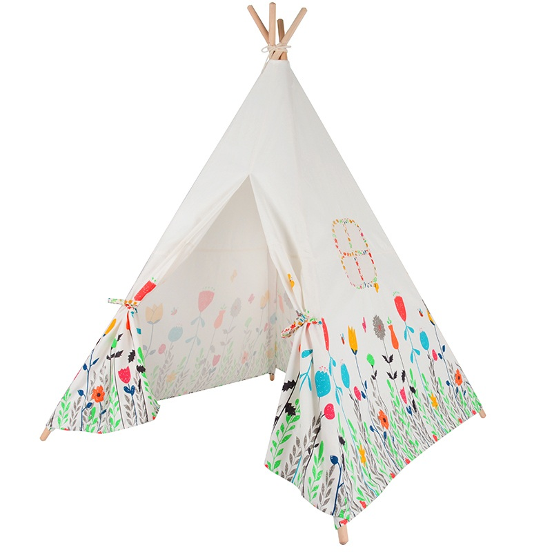 2017 New Flowers Printed Children Play Tents Wooden Poles Teepee Kids Cotton Canvas Baby Tipi Tent Play House Child Room Castle best selling child toy tents tipi kids game house girl princess play tent teepee children house indoor outdoor toy tents