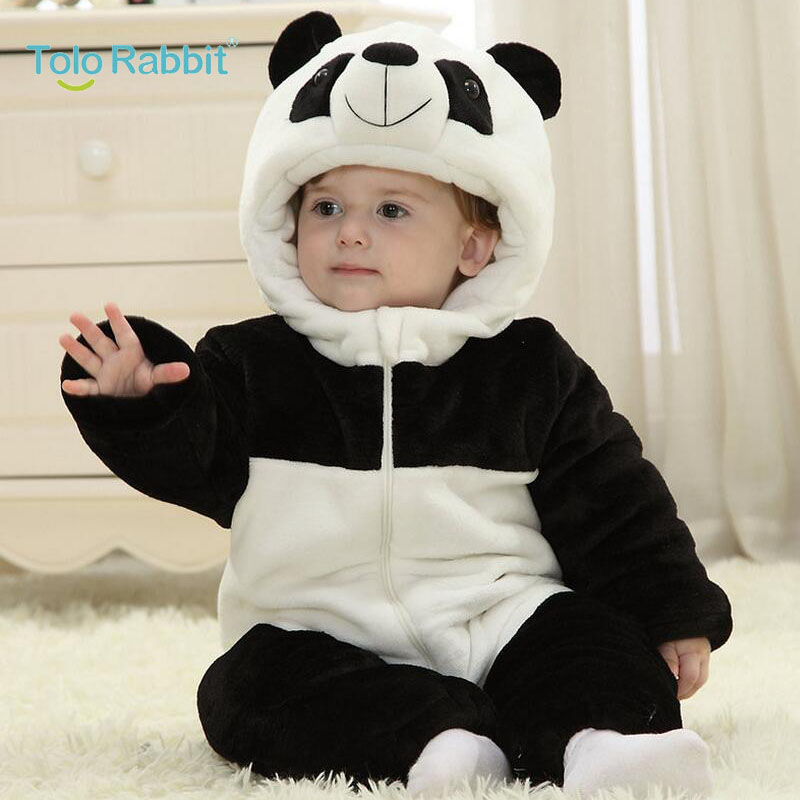 bb29df37530b SUPER THICK 2017 Winter Flannel Baby Boy Clothes Cartoon Animal panda  Jumpsuit Baby Girl Rompers Baby Clothing roupas de bebe-in Rompers from  Mother   Kids ...